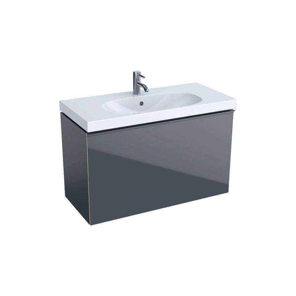 Dulap baza pentru lavoar suspendat proiectie mica negru Geberit Acanto 1 sertar 89 cm imagine