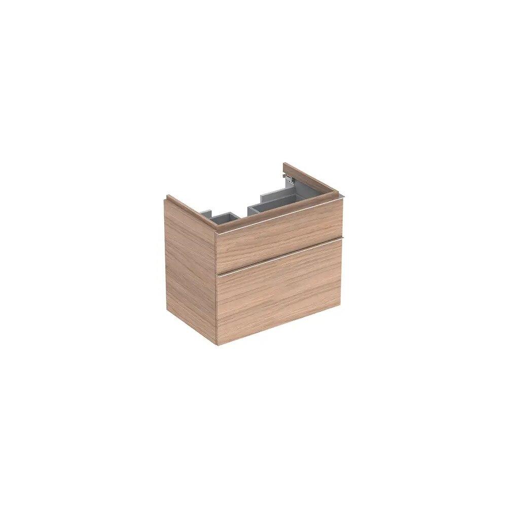 Dulap baza pentru lavoar suspendat stejar natural Geberit Icon 2 sertare 74 cm