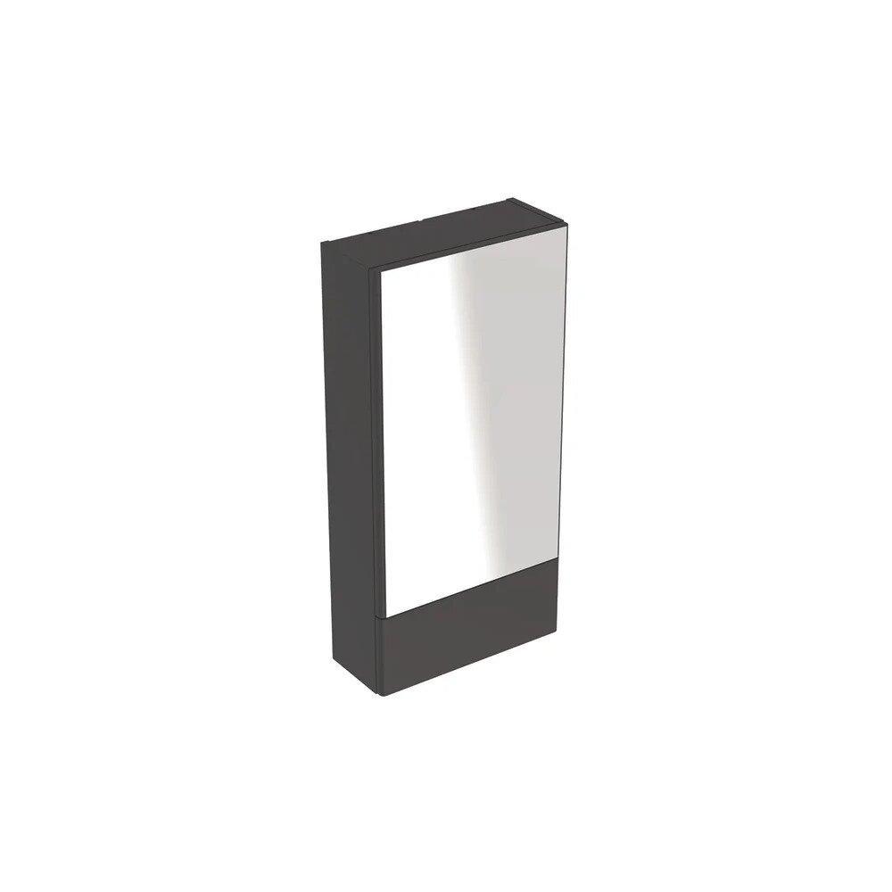 Dulap cu oglinda suspendat Geberit Selnova Square negru 1 usa simpla 1 usa rabatabila 42 cm imagine neakaisa.ro