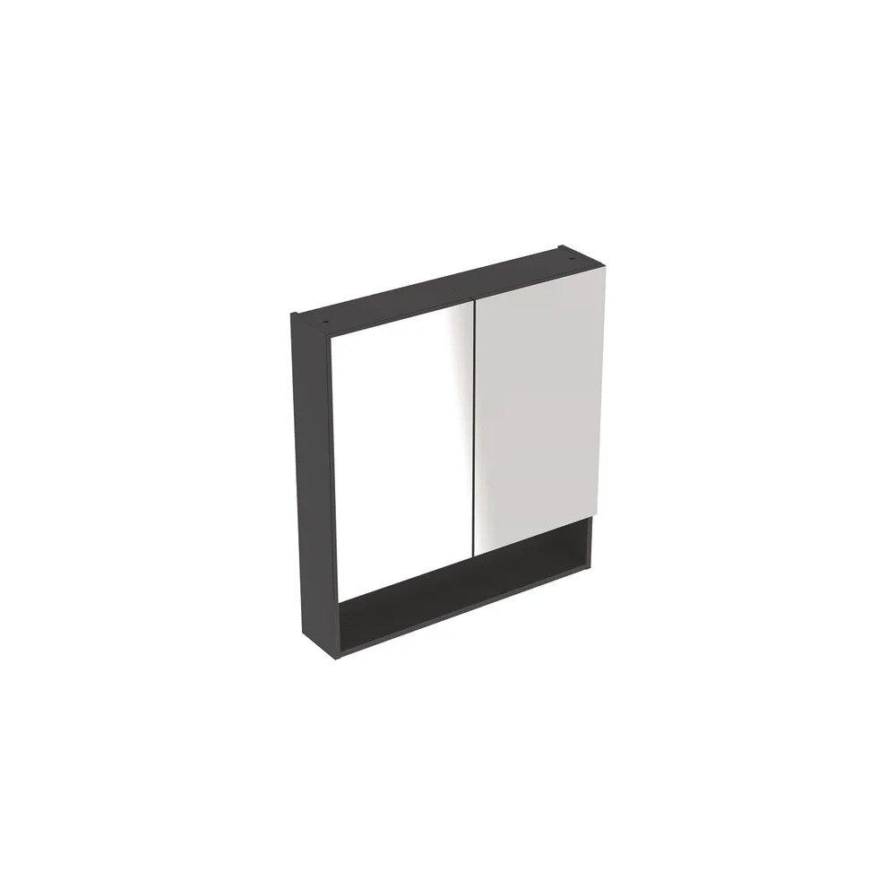 Dulap cu oglinda suspendat Geberit Selnova Square negru 2 usi 59 cm neakaisa.ro