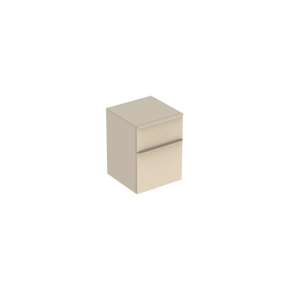 Dulap mediu suspendat Geberit Smyle Square gri nisip 2 sertare 45 cm imagine neakaisa.ro