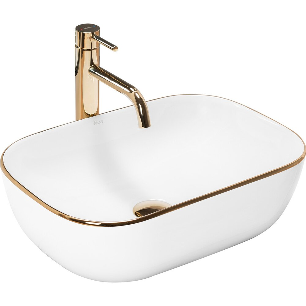 Lavoar alb/auriu pe blat Rea Belinda 47 cm poza