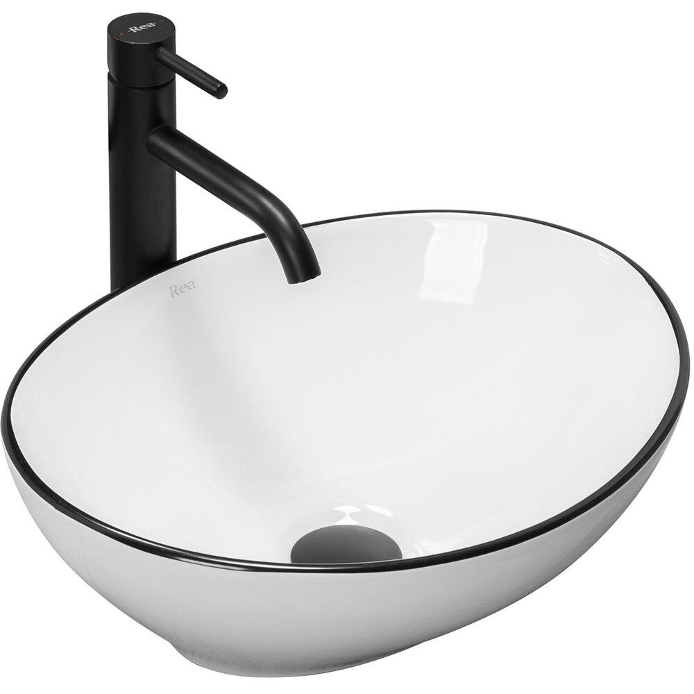 Lavoar alb/negru pe blat Rea Sofia Black Edge 41 cm imagine