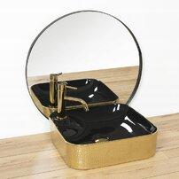 Lavoar negru/auriu pe blat Rea Elisa 43 cm