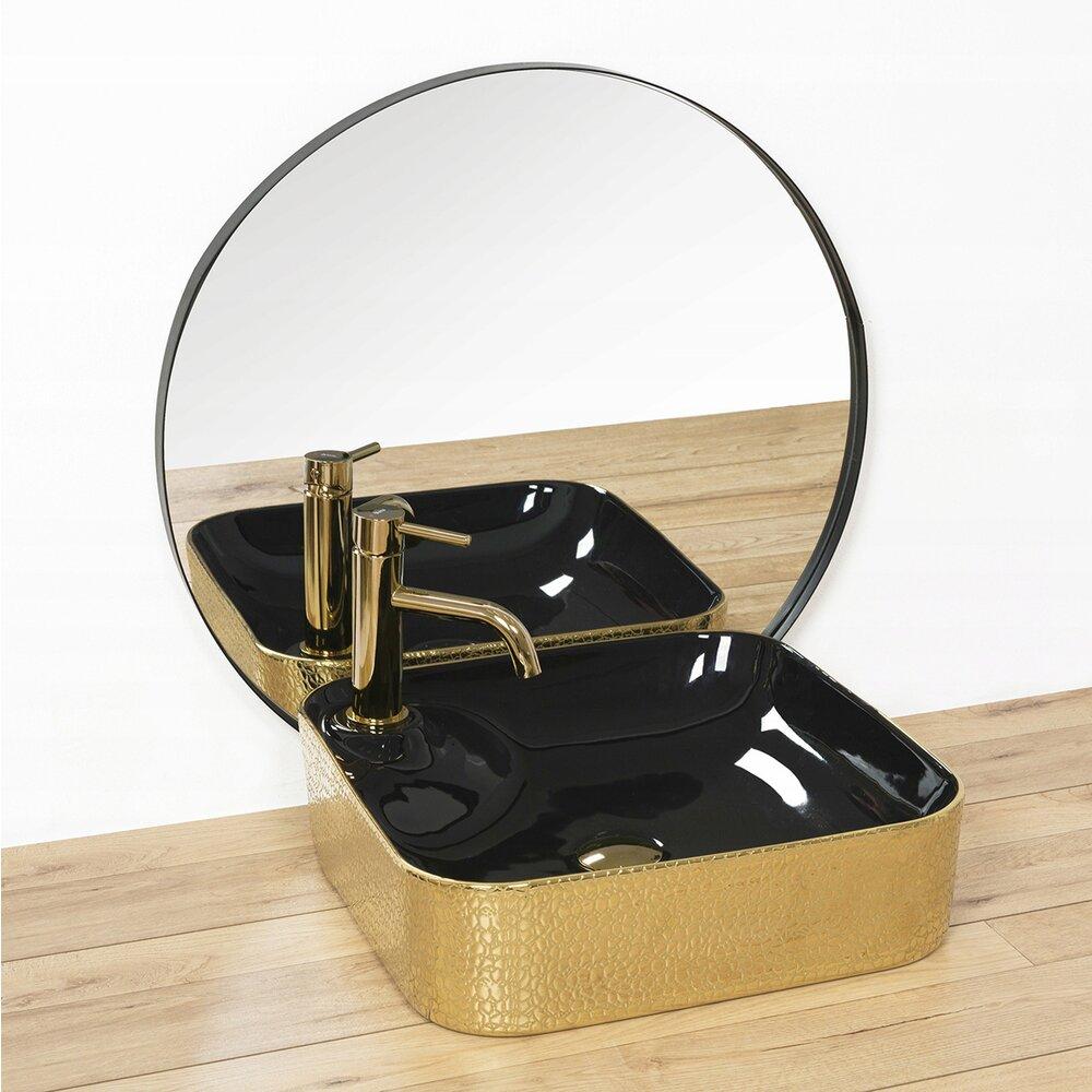Lavoar negru/auriu pe blat Rea Elisa 43 cm imagine