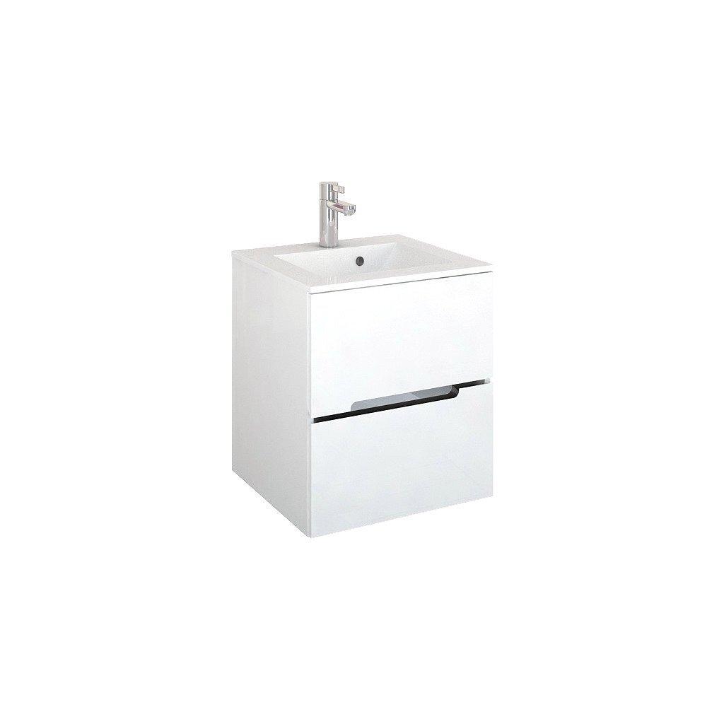 Set dulap baza suspendat alb cu 2 sertare si lavoar marmura 50 cm Oristo Silver imagine