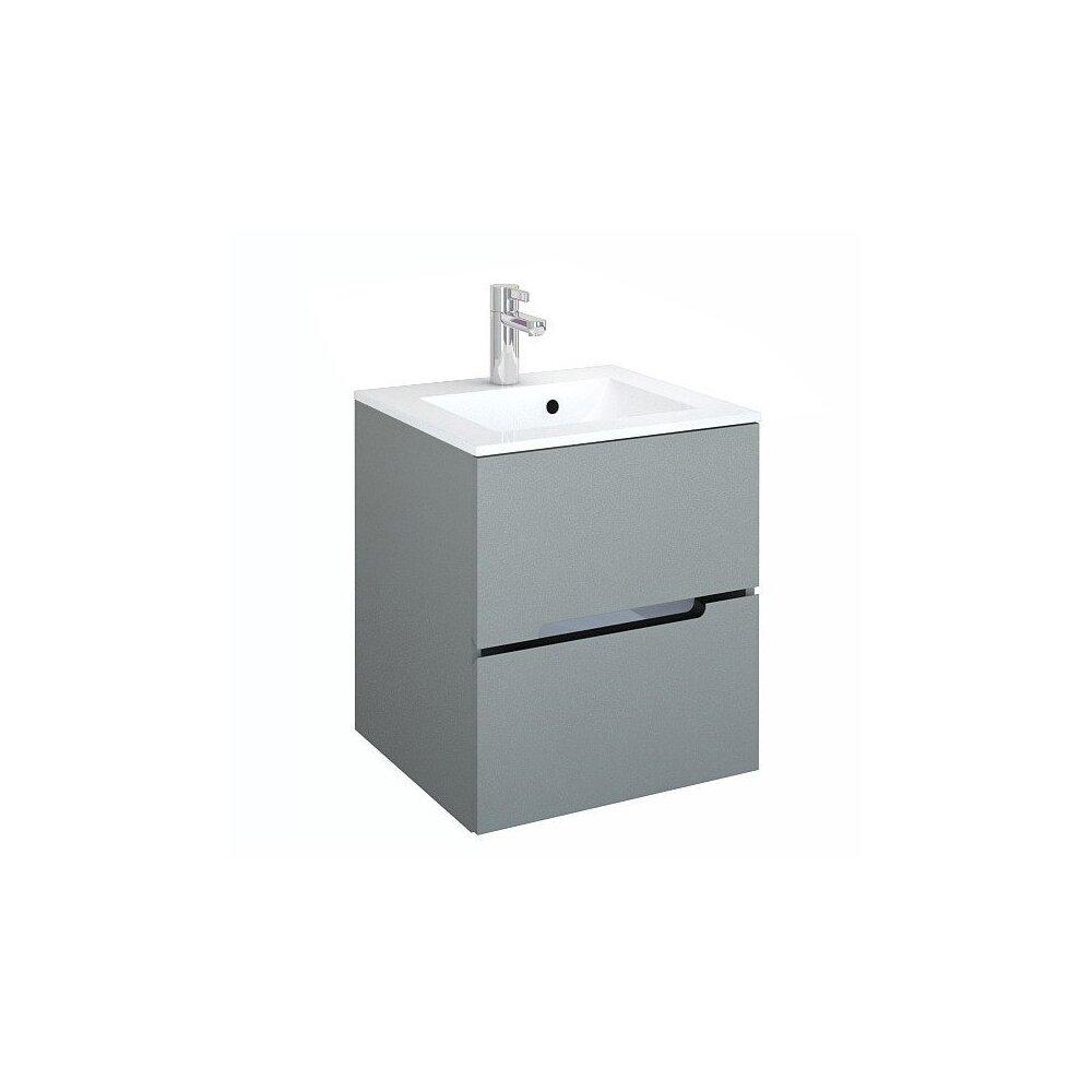 Set dulap baza suspendat gri cu 2 sertare si lavoar marmura 50 cm Oristo Silver imagine