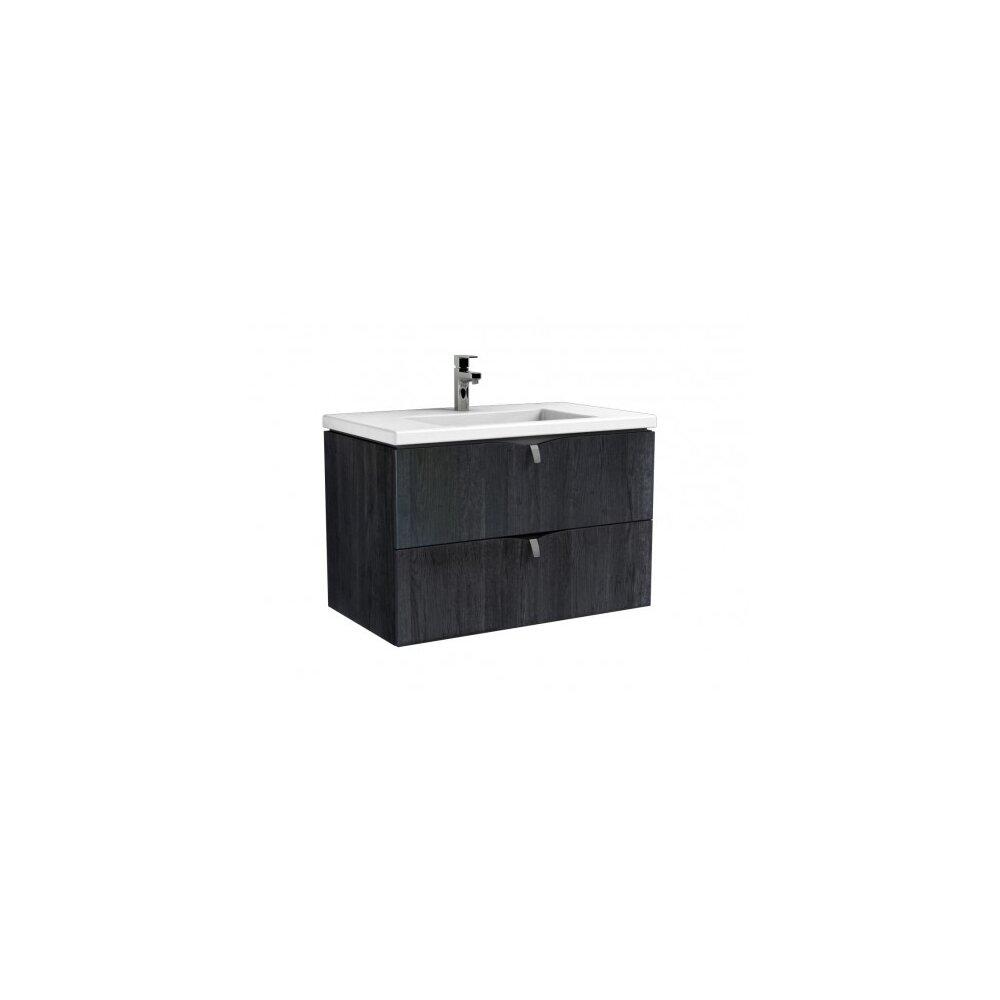 Set dulap baza suspendat negru cu 2 sertare Oristo Siena si lavoar din marmura Beryl 80 cm imagine