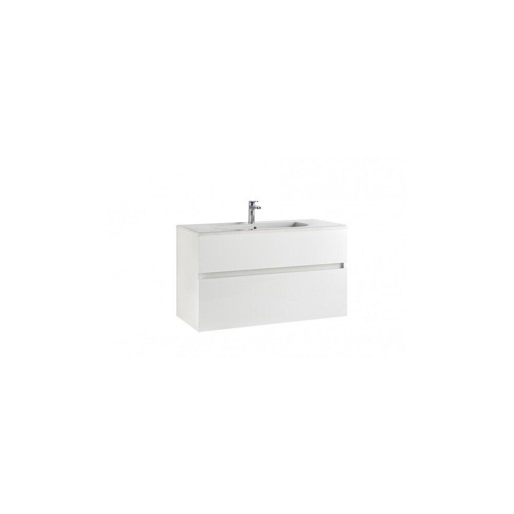 Set dulap suspendat si lavoar Gala Jade 2 sertare, alb lucios, 100 cm imagine