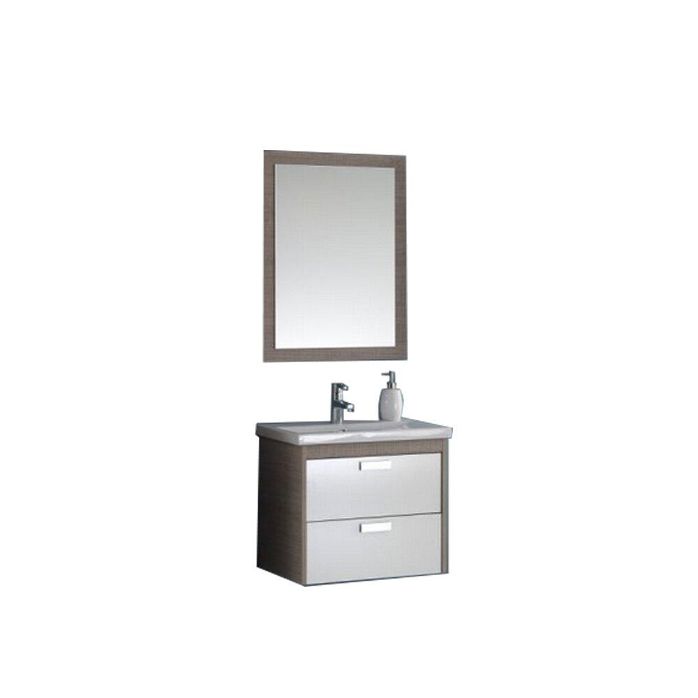 Set dulap suspendat si lavoar si oglinda KolpaSan Sara mdf maro+alb 62 cm imagine