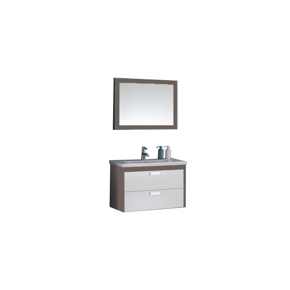 Set dulap suspendat si lavoar si oglinda KolpaSan Sara mdf maro+alb 82 cm imagine