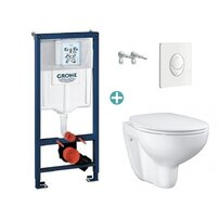 Set rezervor Grohe Rapid SL cu clapeta Skate Air alba si vas wc Grohe Bau Ceramic Rimless capac soft close