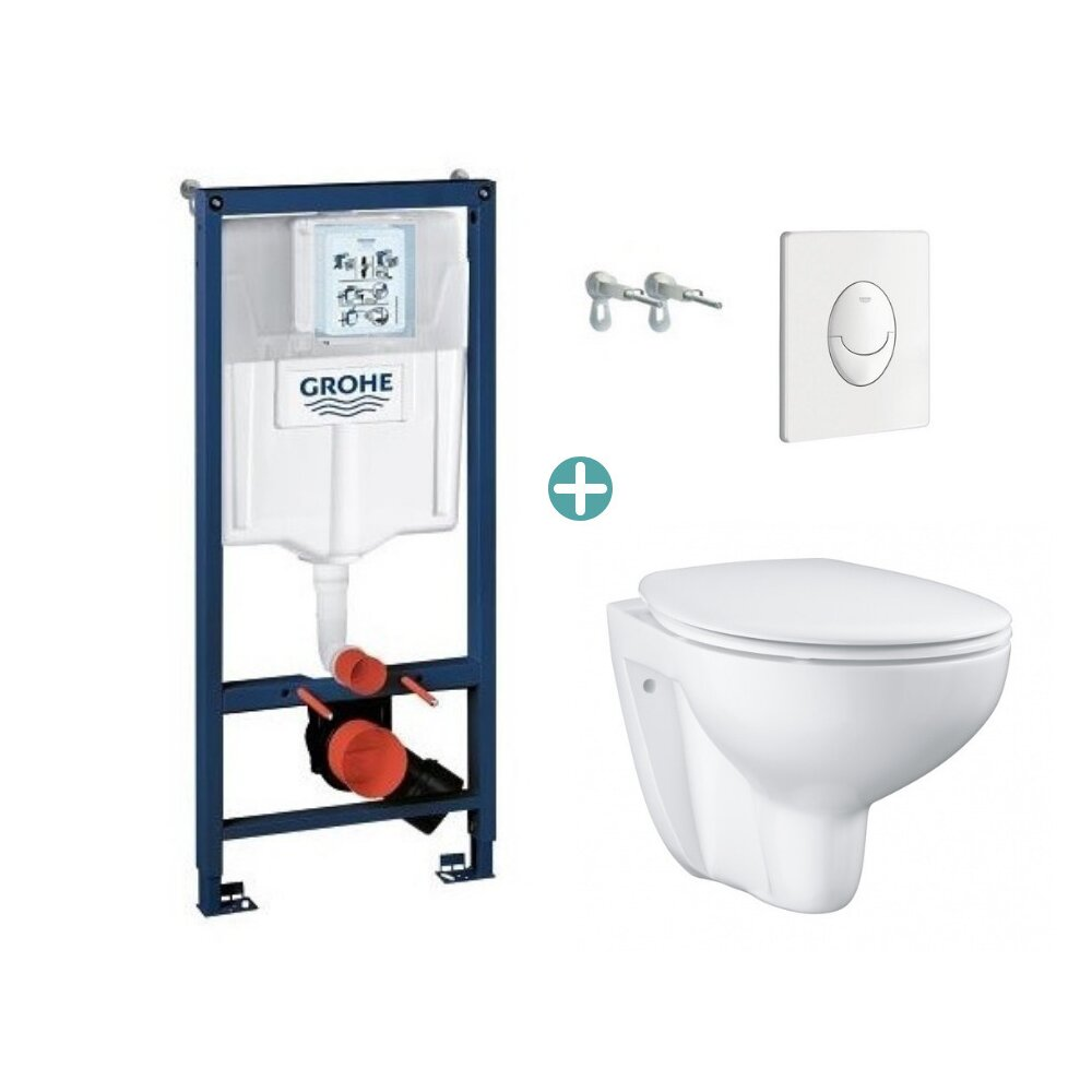 Set rezervor Grohe Rapid SL cu clapeta Skate Air alba si vas wc Grohe Bau Ceramic Rimless capac soft close imagine neakaisa.ro