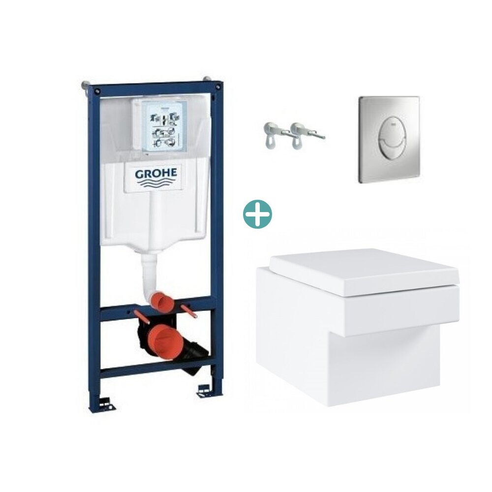 Set rezervor Grohe Rapid SL cu clapeta Skate Air crom si vas wc Grohe Cube Ceramic Triple Vortex PureGuard capac soft close imagine
