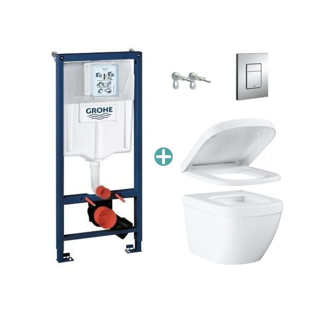 Set rezervor Grohe Rapid SL cu clapeta Skate Cosmopolitan si vas wc Grohe Euro Ceramic Compact Triple Vortex capac soft close imagine neakaisa.ro