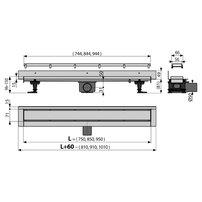 Set rigola de perete cu capac faiantabil Alcaplast APZ23-DOUBLE9 FIT AND GO WALL 75 cm