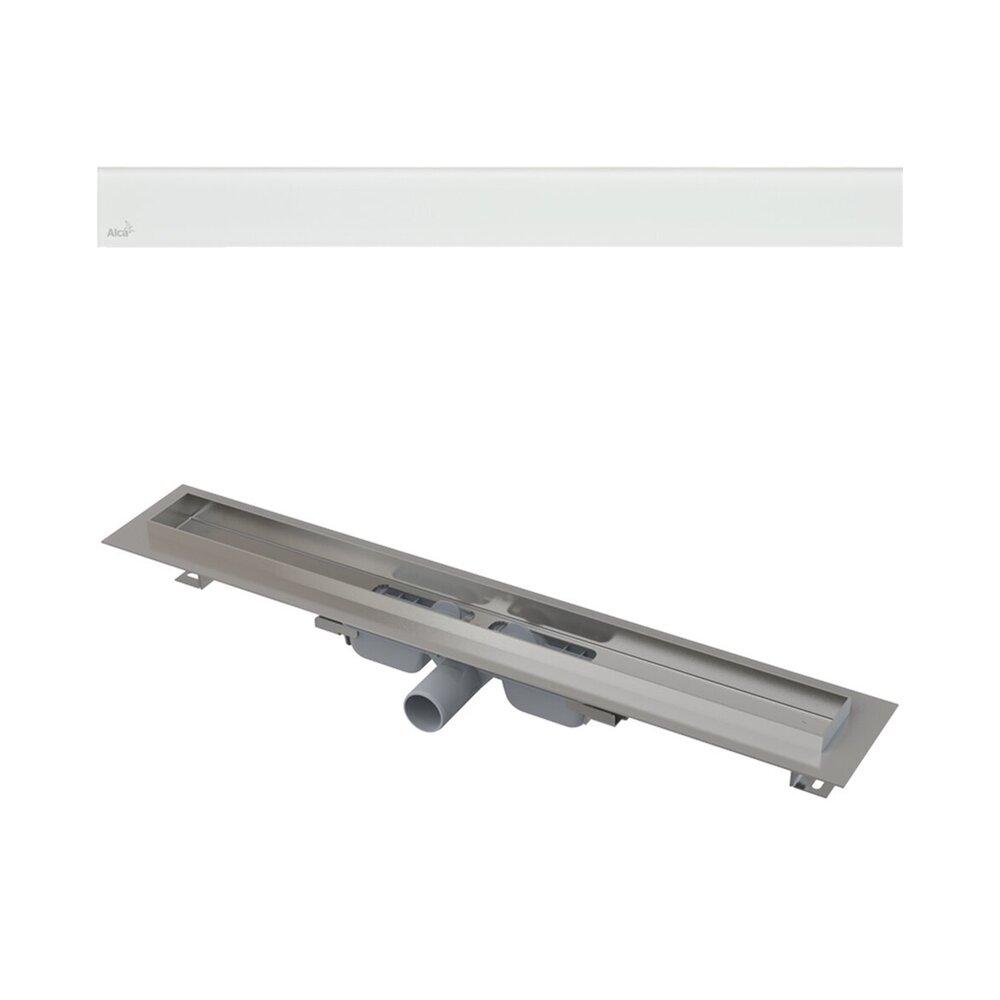 Set rigola pentru dus plus capac sticla alba Alcaplast Glass si APZ106 115 cm neakaisa.ro