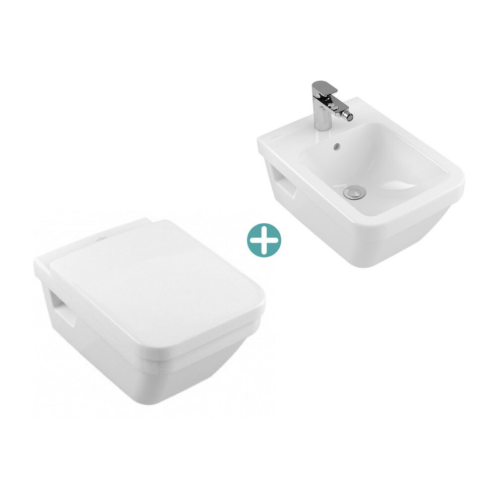 Set vas wc suspendat cu capac soft close si bideu suspendat Villeroy&Boch Architectura dreptunghiular imagine neakaisa.ro