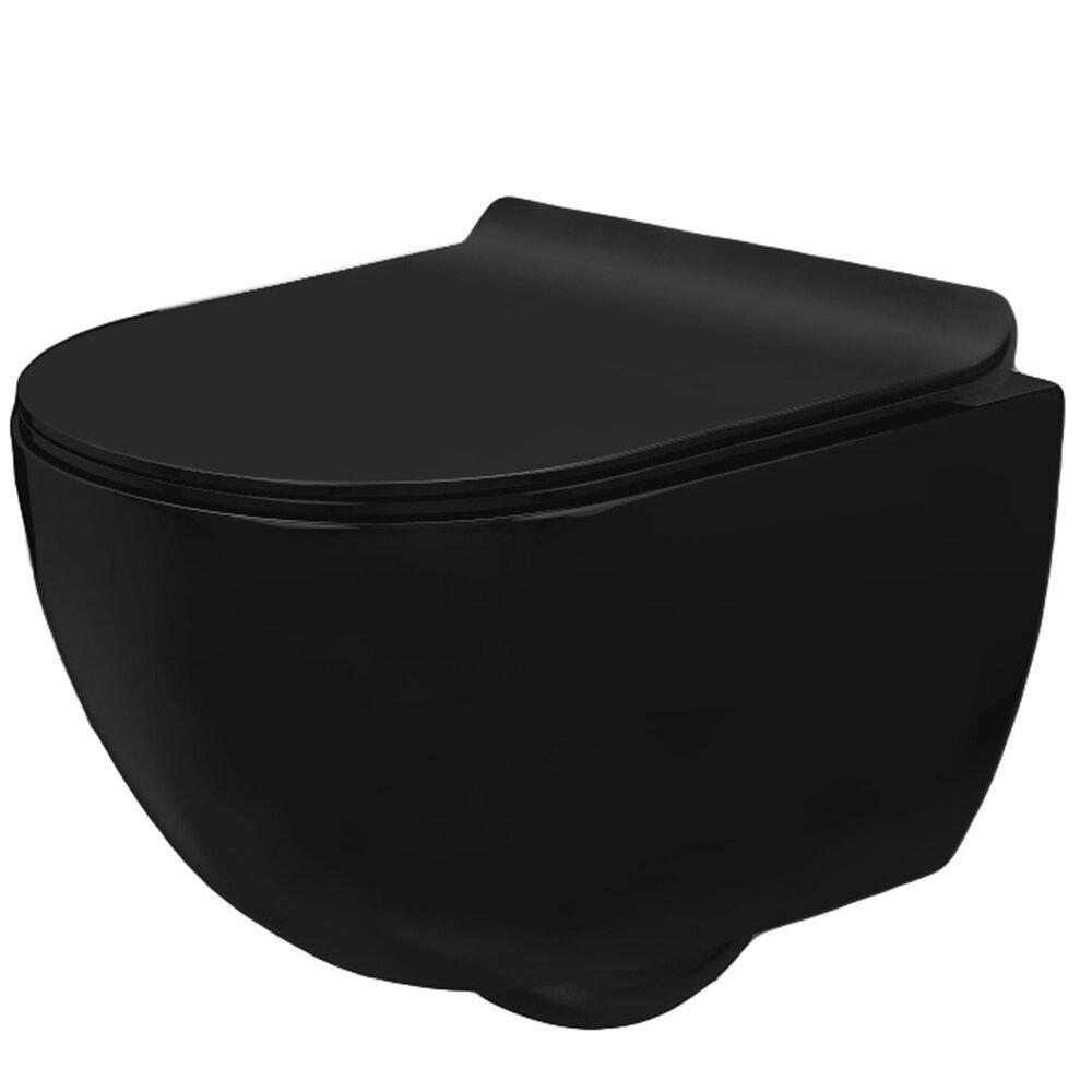 Set vas wc negru mat suspendat Rea Carlo Mini capac slim softclose poza