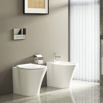 Set vas wc pe pardoseala btw cu capac softclose slim si bideu Ideal Standard Connect Air Aquablade