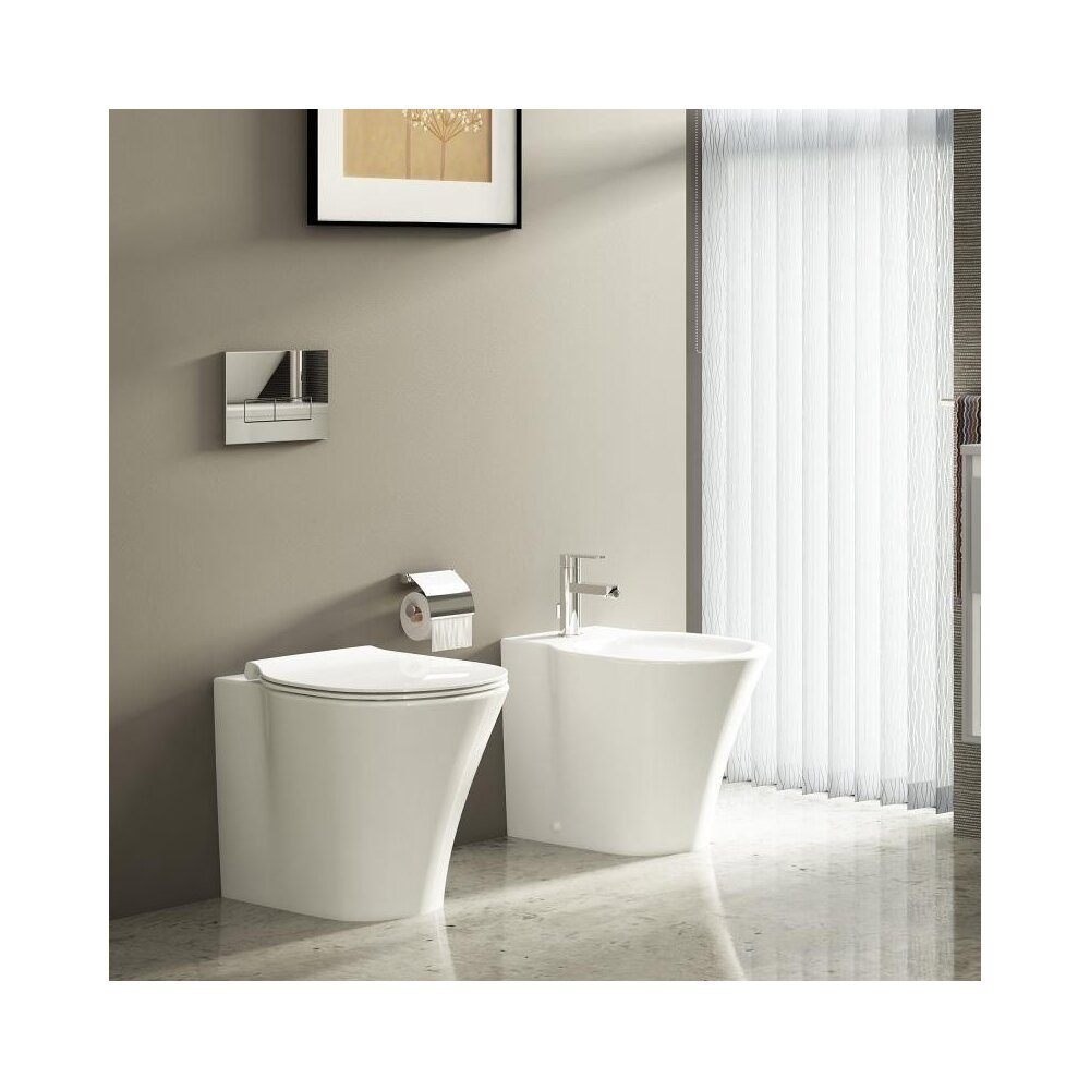 Set vas wc pe pardoseala btw cu capac softclose slim si bideu Ideal Standard Connect Air Aquablade imagine neakaisa.ro
