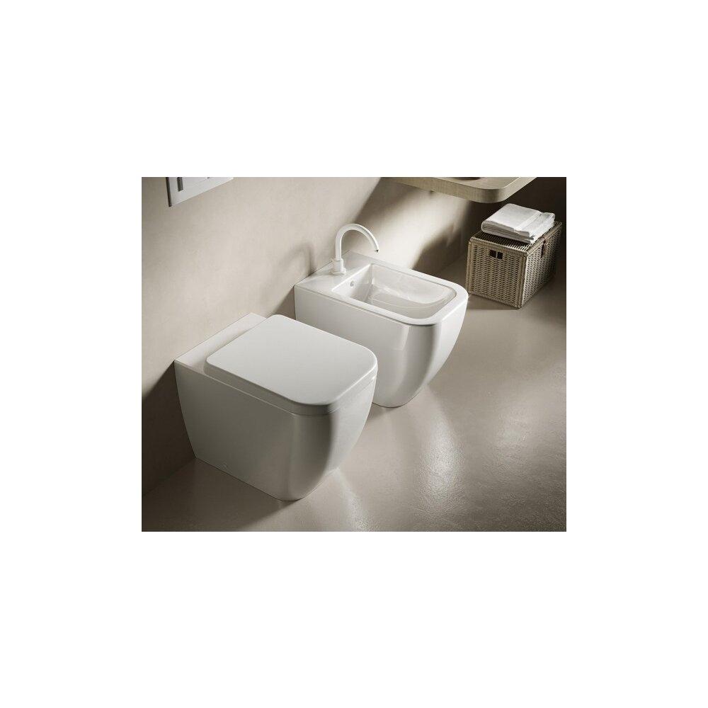 Set vas wc si bideu pe pardoseala Hatria Bianca Rimless BackToWall cu capac soft close neakaisa.ro