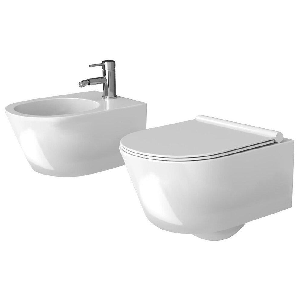 Set vas wc suspendat capac slim softclose si bideu Rea Porter imagine