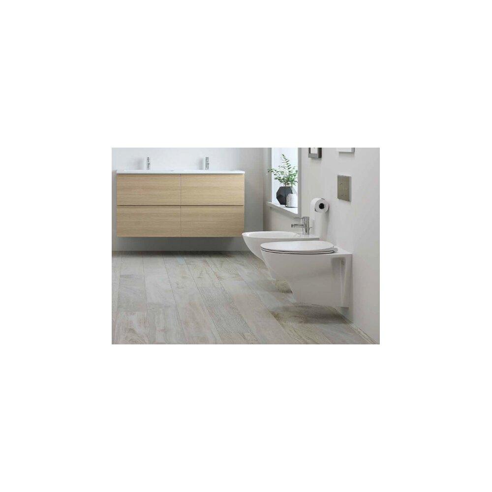 Set vas wc suspendat cu capac softclose si bideu Rak Ceramics Morning Rimless imagine
