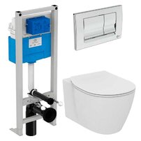 Set vas wc suspendat Ideal Standard Connect AquaBlade cu capac inchidere lenta si rezervor Ideal Standard Prosys