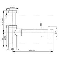 Sifon lavoar rotund Alcaplast A400 DN32 metalic