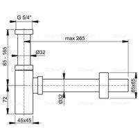 Sifon lavoar unghiular Alcaplast A401 DN32 metalic