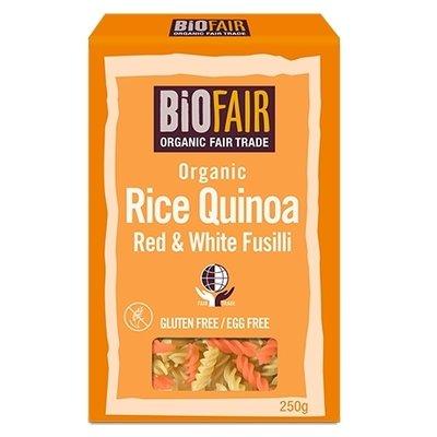 Fusilli din orez si quinoa rosie si alba bio 250g Biofair