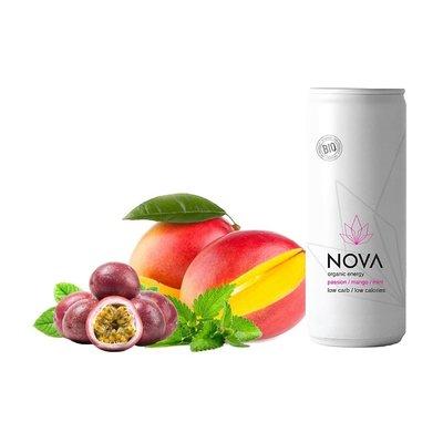 Nova Organic Energy Drink: Fructul Pasiunii, Mango si Menta, 250 ml