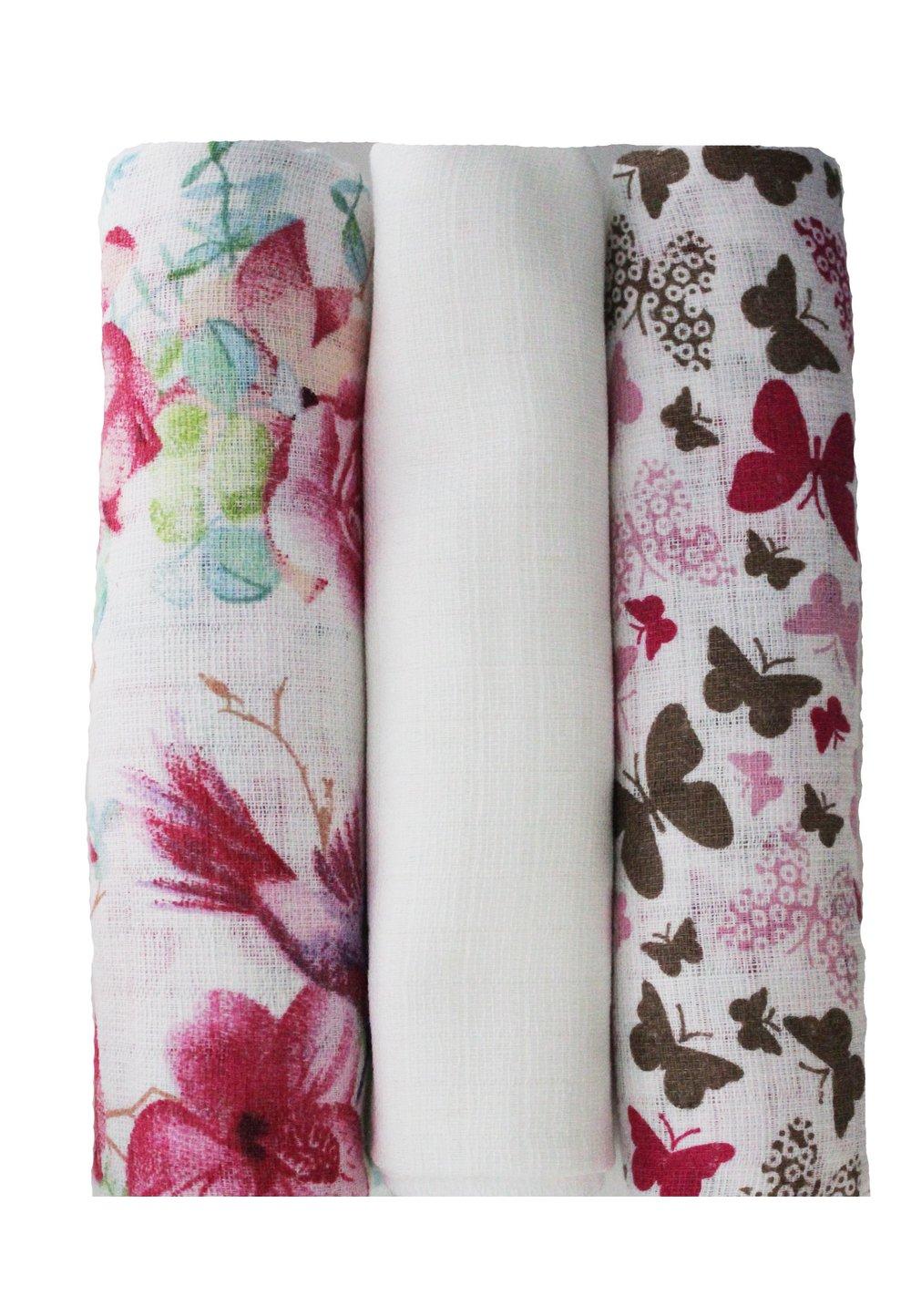 Set 3 scutece, Rosa si Butterfly, 80 x 70 cm imagine