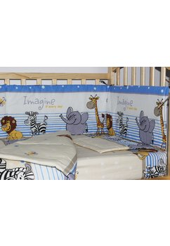 Set 2 piese aparatoare laterala,180 x 30 cm, animalute albastra