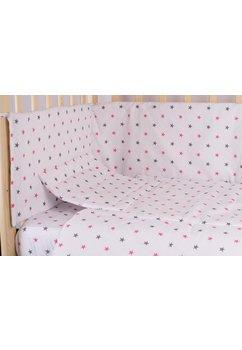 Aparatoare laterala 180 x 30 cm, stelute roz cu gri
