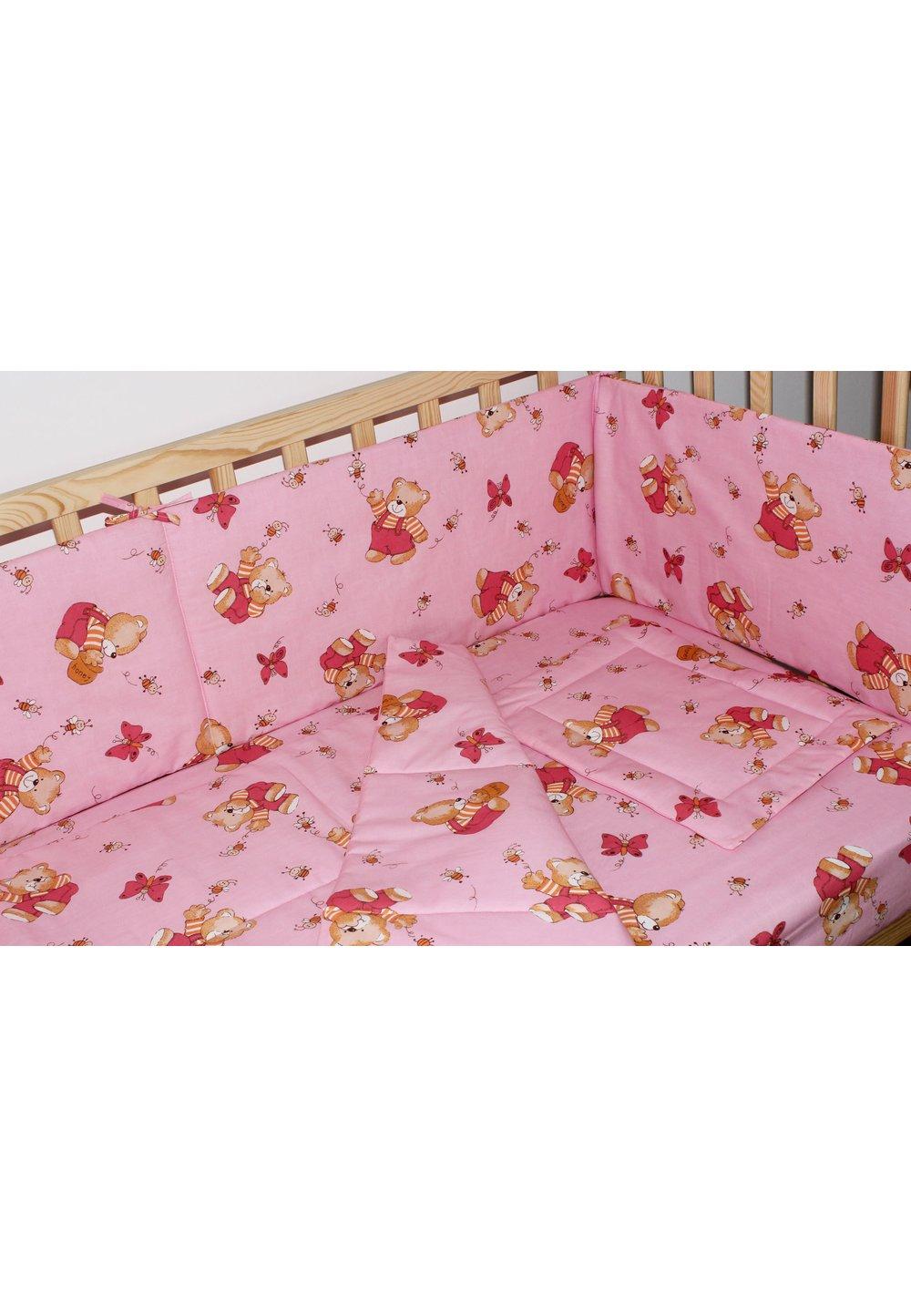 Aparatoare laterala 180 x 30 cm, ursulet cu albinute roz imagine