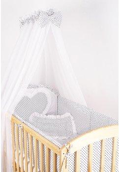 Baldachin patut, alb cu buline bluemarin, 300x160 cm