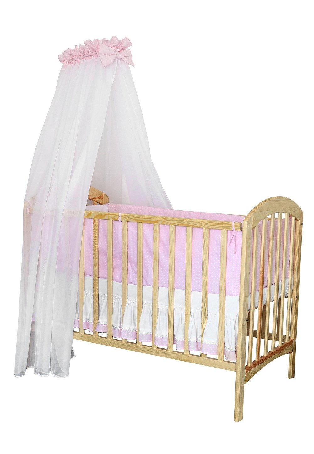 Baldachin patut, roz cu buline albe, 300 x 160 cm imagine