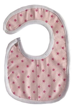 Baveta, roz cu stelute roz, 0-6 luni