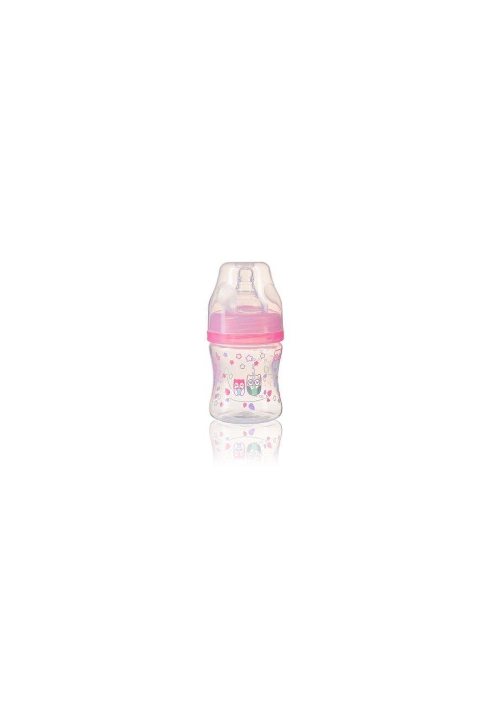 Biberon anti-colici cu gat larg, + 0 luni, 120ml, roz cu bufnite imagine
