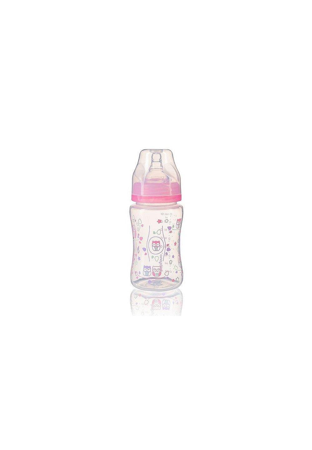 Biberon anti-colici cu gat larg, + 0 luni, 240ml, roz cu bufnite imagine