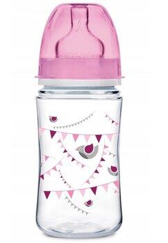Biberon Canpol, anti-colici, roz cu pasarele, 240ml, + 3luni