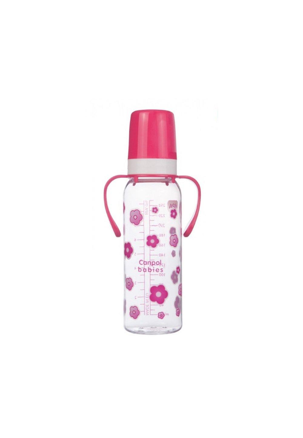 Biberon Canpol, cu maner, 12luni, roz 250ml
