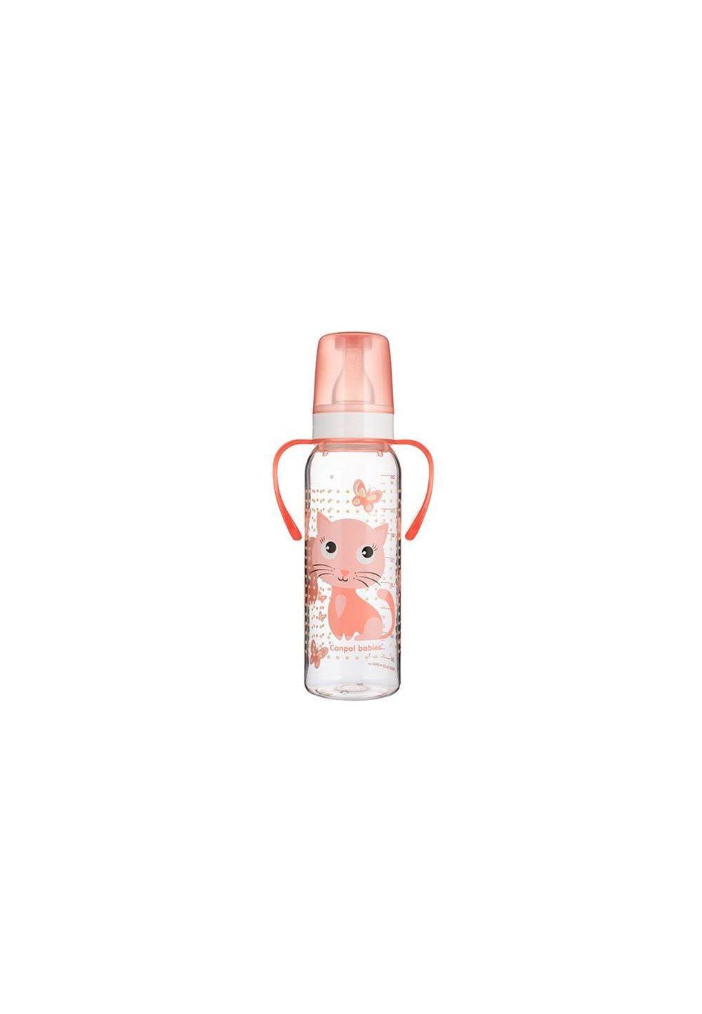 Biberon cu maner, Canpol, tetina din silicon, +12 luni, 250 ml, roz imagine