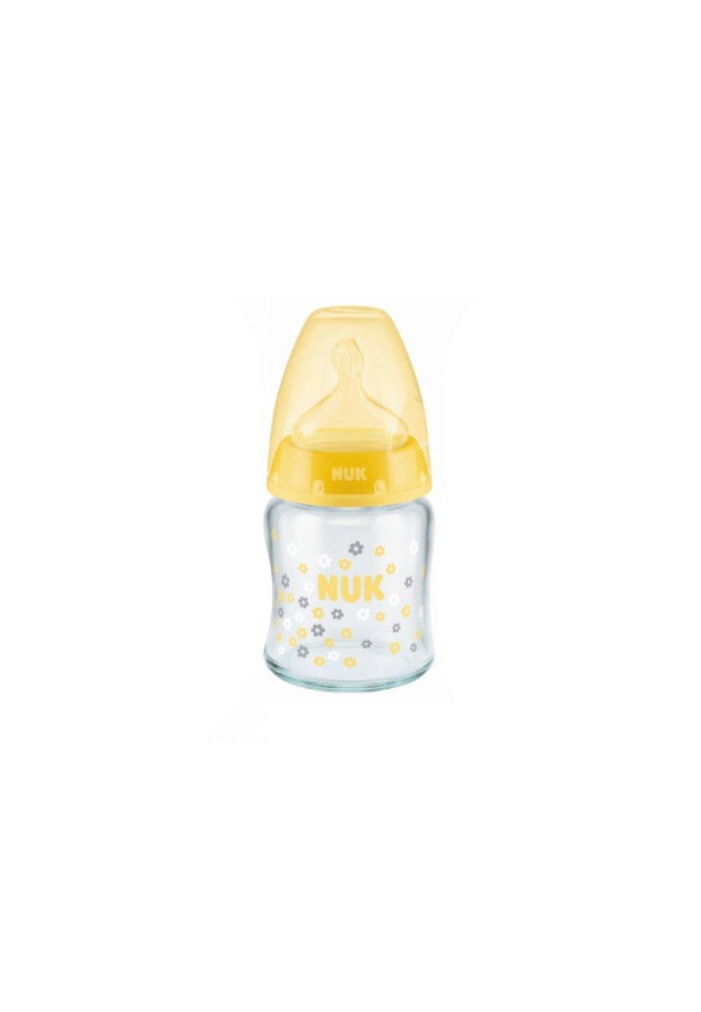 Biberon sticla Nuk, First choice, tetina silicon, 0-6 luni, 120 ml, galben imagine