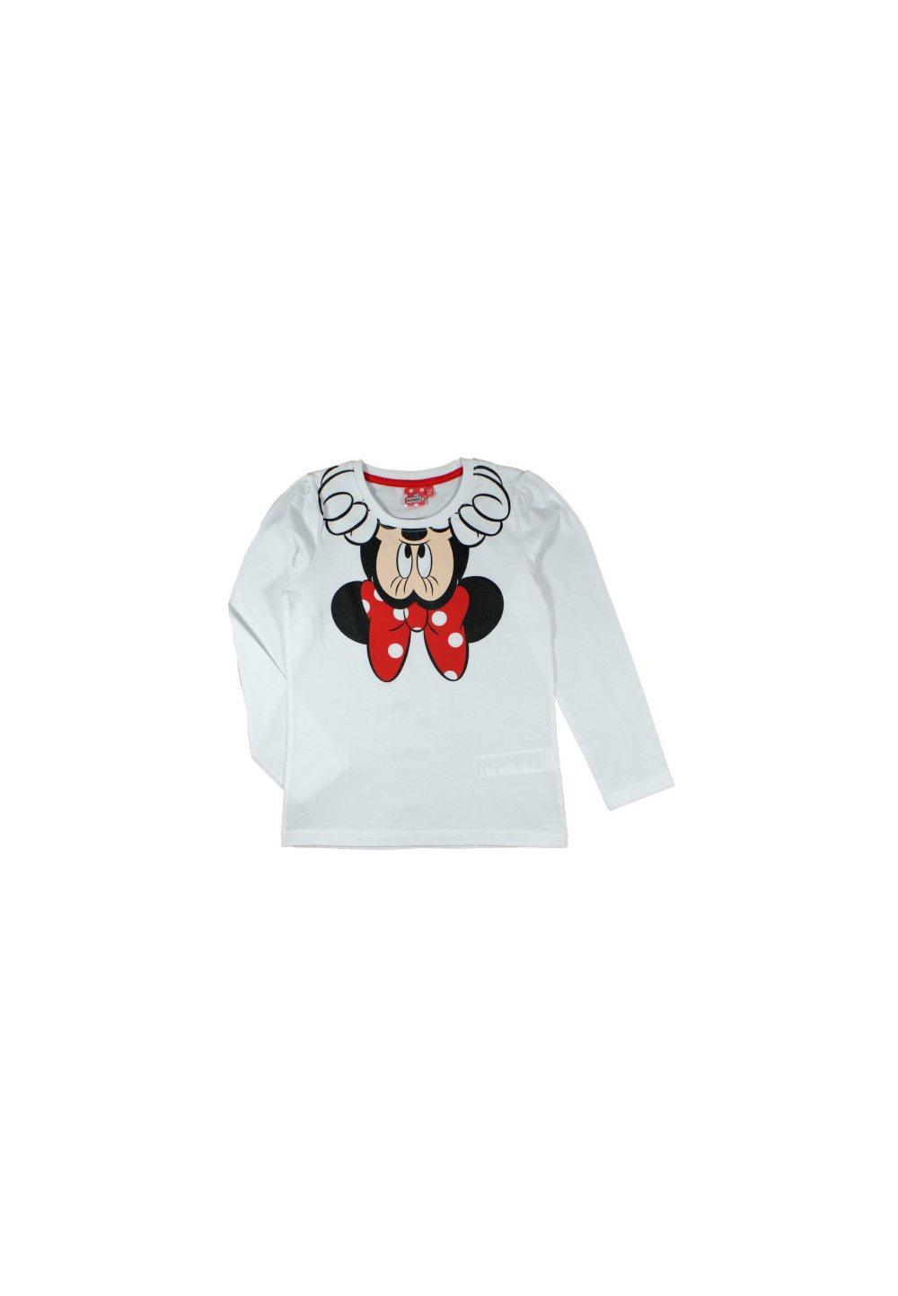 Bluza Alba, Minnie Mouse Cu Fundita Rosie