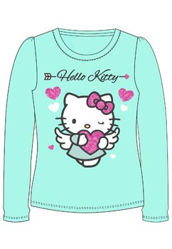 Bluza turcoaz, Hello Kitty, cu inimioare