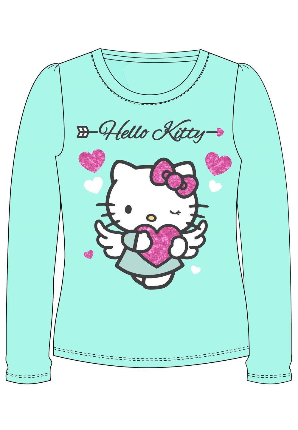 Bluza turcoaz, Hello Kitty, cu inimioare imagine