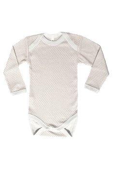 Body maneca lunga, alb cu buline roz